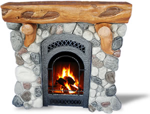 Log mantle River-rock Fireplace Surround