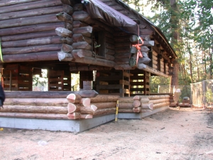 Log Restoration at Historic Lodge